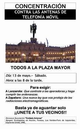 Concentración contra las Antenas de Telefonía Móvil en la Plaza Mayor