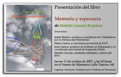 Presentación del libro Memoria y Esperanza