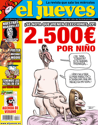 Portada de la revista 'El Jueves' secuestrada por el juez Del Olmo